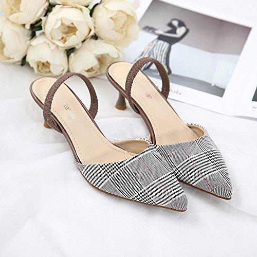 ZHZNVX Las mujeres de moda de sandalias de tacón alto de tacón alto de nuevo estilo la mitad de arrastre y sandalias Pink lattice