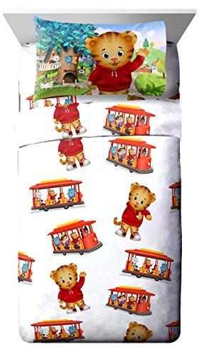(PBS Kids Daniel Tiger Trolley Ride 3 Piece White Twin Sheet Set)