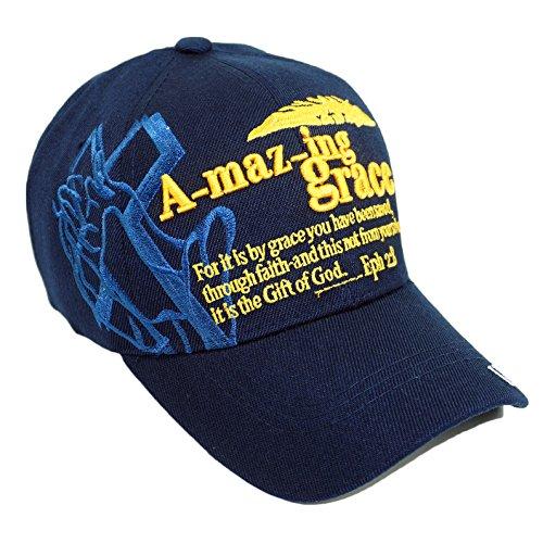 Amazing Grace Embroidery Hat Adjustable I Love Jesus Baseball Cap (Navy) by Bingoo