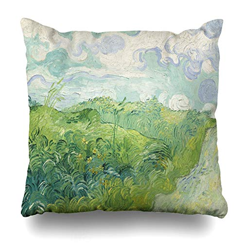 Ahawoso Throw Pillow Cover Square 20x20 Inches Landforms Van Green Wheat Fields Auvers by Vincent Gogh Painting Oil Paint Century Dutch Cushion Case Home Decor Pillowcase