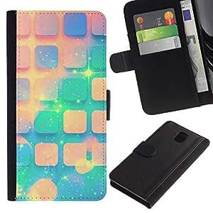 KingStore / Leather Etui en cuir / Samsung Galaxy Note 3 III / Teal Espacio melocotón Estrellas Universo Patrón