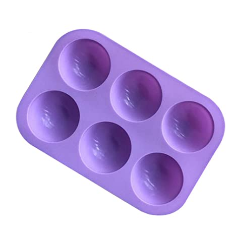 BESTOMZ 6-caries molde de jabón de silicona Demicircle pan / panecillo / Miche /