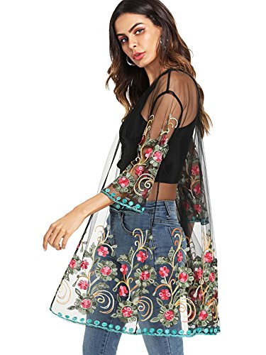 SweatyRocks Women's Sexy Mesh Sheer Cover Up Embroidered Floral Kimono Cardigan Blouse Floral L