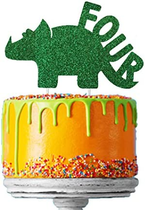 Surprising Lissielou Boys 4Th Birthday Dinosaur Cake Topper In Glittery Funny Birthday Cards Online Alyptdamsfinfo