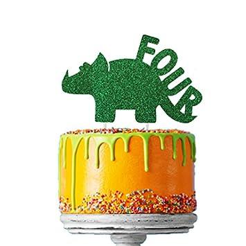 LissieLou Dinosaur 4th Birthday Cake Topper