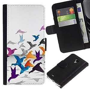 JackGot ( Grulla de origami ) Samsung Galaxy S4 Mini i9190 (NOT S4) la tarjeta de Crédito Slots PU Funda de cuero Monedero caso cubierta de piel