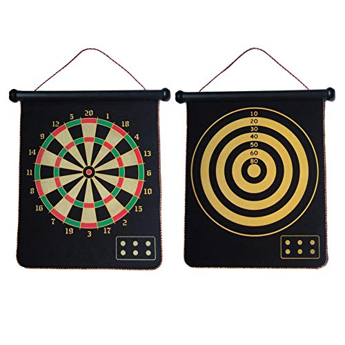 CX Magnetic Dart Board Game for Kids 15 inch Safety Rollup Indoor Outdoor Games Double Sided 2 Game for Gifts from CX