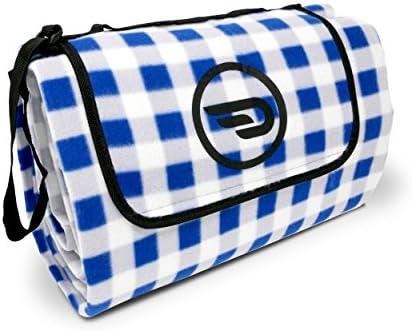 Luxamel Danura Picknickdecke Outdoor Fleece XXL Wärmeisoliert Wasserdicht mit Praktischem Tragegriff 200x175cm (blau/weiß)
