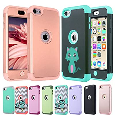 iPod 6 Case,iPod Touch 6 Case,ULAK [ 3in1 Hybrid F Style] Case for Apple iPod Touch 5 6th Generation Hybrid Protective Silicon Cover_2015 Released