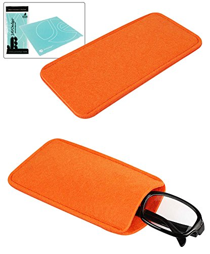 JAVOedge Orange Soft Felt Slip In Pouch / Case for Sunglasses or Reading Glasses