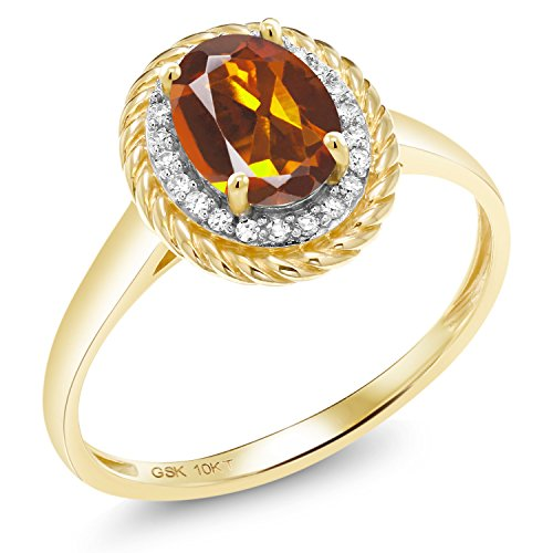 - Gem Stone King 1.25 Ct Oval Orange Red Madeira Citrine White Diamond 10K Yellow Gold Ring (Size 9)