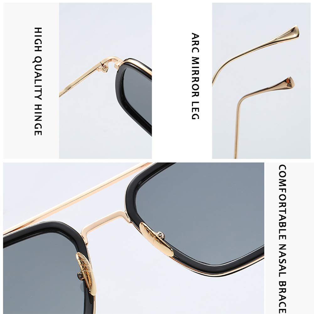 Spider Man Edith Glasses,Vintage Aviator Square Metal Frame for Women Sunglasses Classic Downey Iron Man Tony Stark Shades (Blue)