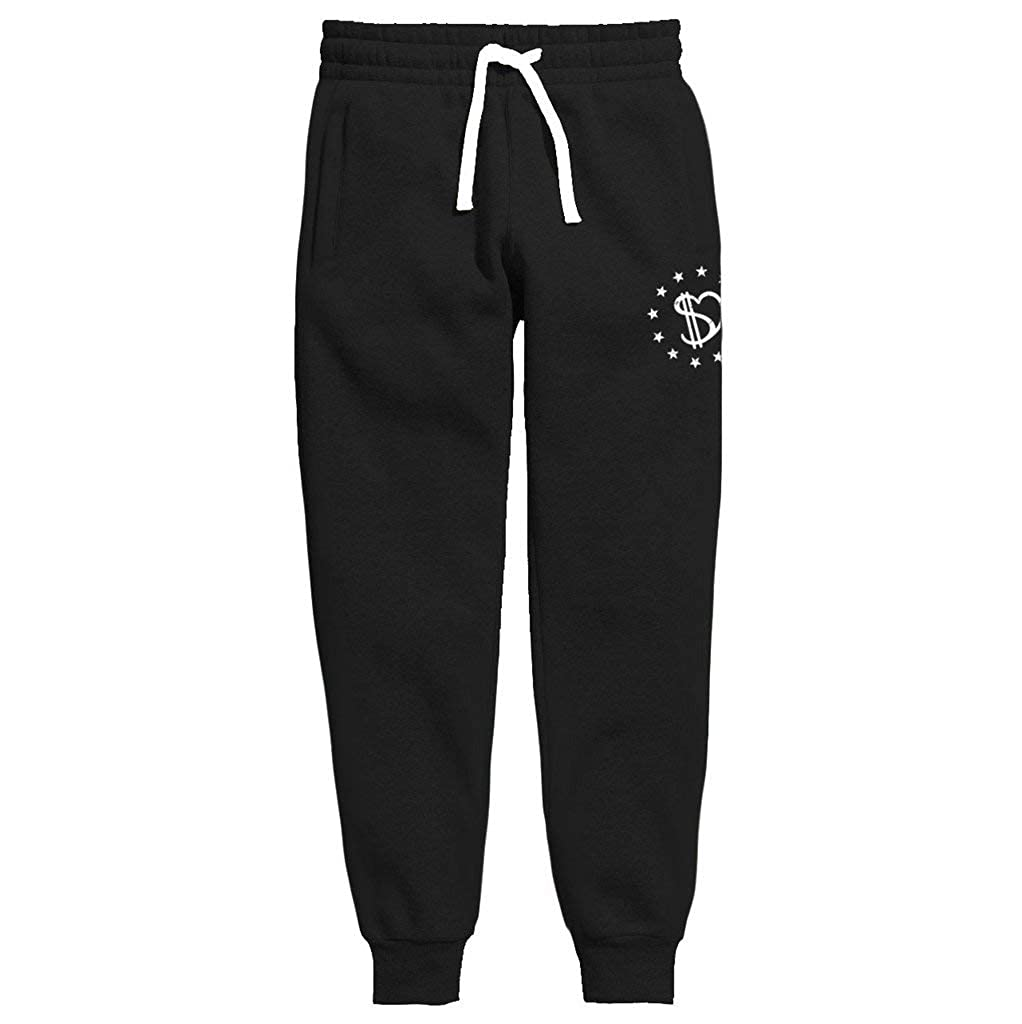 100/% Cotton Zipper Pockets DURO threads Love Your Hustle Streetwear Joggers