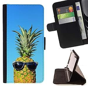 BullDog Case - FOR/HTC One M9 / - / cool blue pineapple dude weed 420 /- Monedero de cuero de la PU Llevar cubierta de la caja con el ID Credit Card Slots Flip funda de cuer