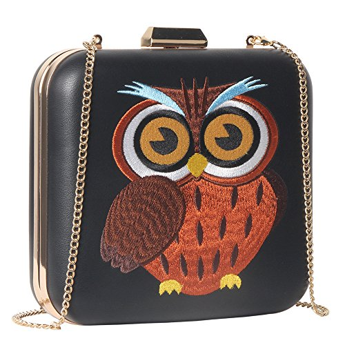 M10M15 Women Black Owl Embroidery Evening Clutch Purse Hardcase Handbag for - Colorfull Sunglasses