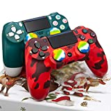 Christmas Alpine Green and Red Camo PS4 Controller 2 Pack - AUGEX Wireless PS4 Remote Control for Sony Playstation 4(Red Camouflage and Green Joystick PS4,2020 New) (Color: Red Camouflage and Green)