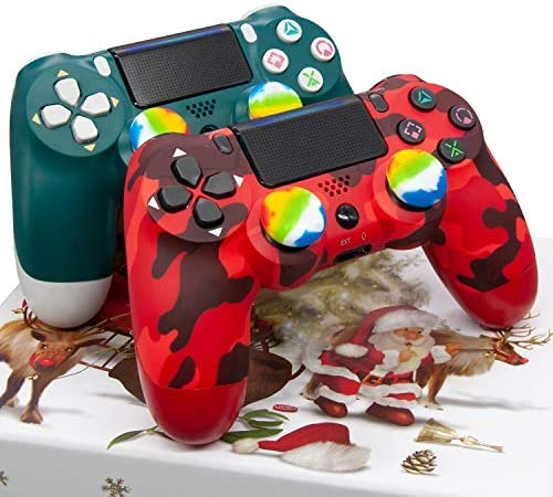 Christmas Alpine Green and Red Camo Controller 2 Pack - AUGEX Wireless Remote Control(Red Camouflage and Green Joystick ,2020 New)
