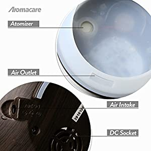 Aromacare 150ml Portable OIil Diffuser, Mini Essential Oil Diffuser, Ultrasonic Cool Mist Wood Grain Humidifier with Timer, Great for Travel