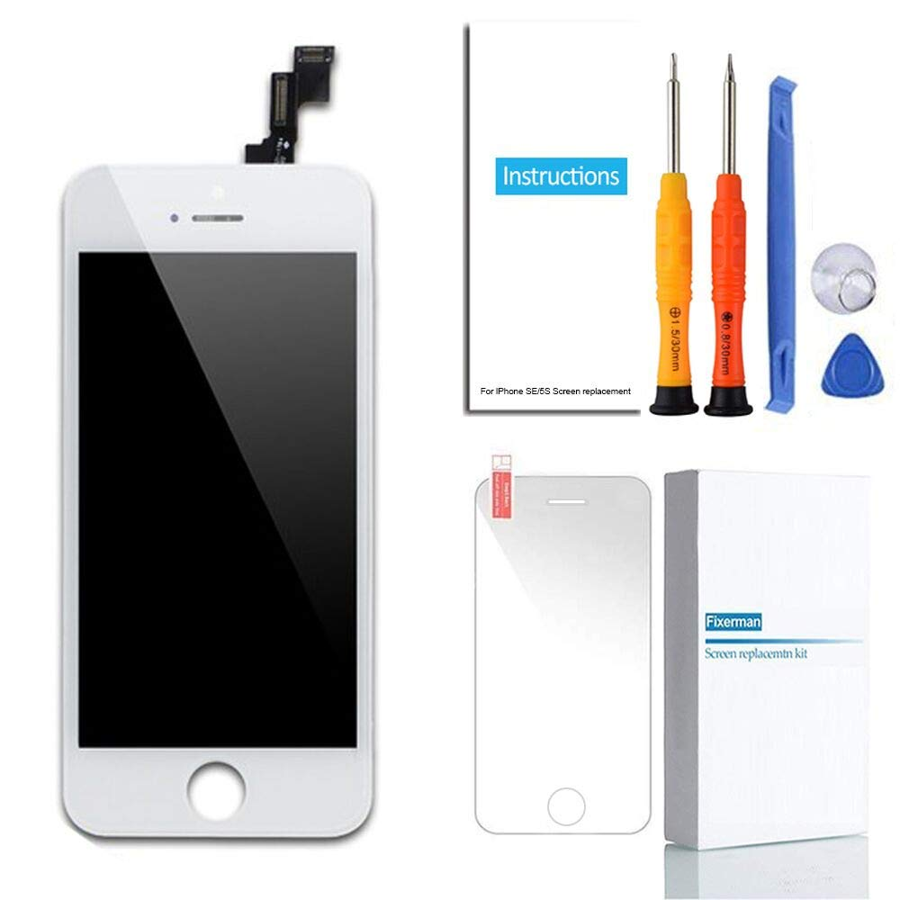 Fixerman for iPhone SE LCD Display Touch Screen Digitizer Replacement Kit with Repair Tools and Tempered Glass (White)