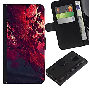 All Phone Most Case / Oferta Especial Cáscara Funda de cuero Monedero Cubierta de proteccion Caso / Wallet Case for Samsung Galaxy S5 V SM-G900 // Red Leaf Forrest