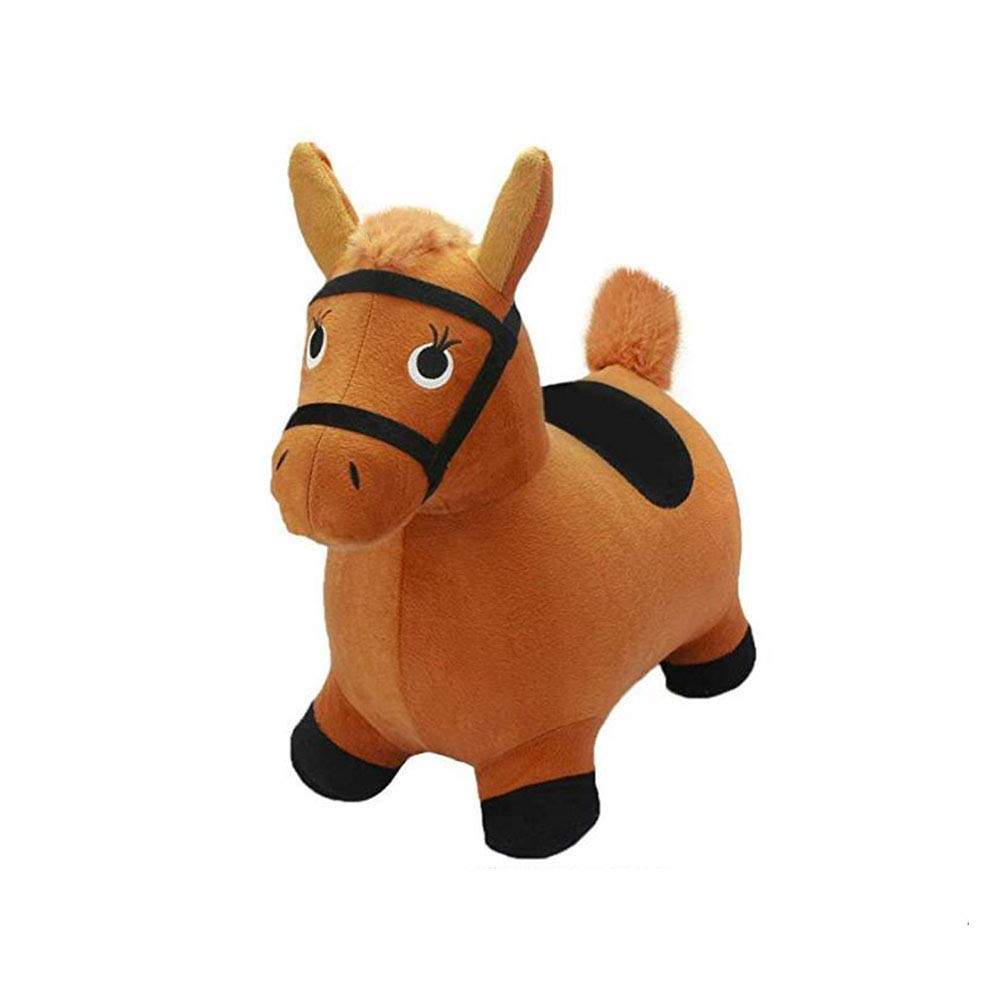 SXJ Hopping Horse Activity Toy, Outdoors Ride on Bouncy Animal Play Toys, Inflatable Hopper Plush Covered with Pump, 2, 3, 4, 5 Year Olds, Kids Toddlers Boys Girls,A by SXJ