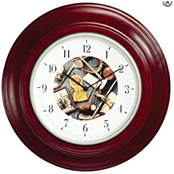 Golf Themed Wall Clock   Mahogany Stained