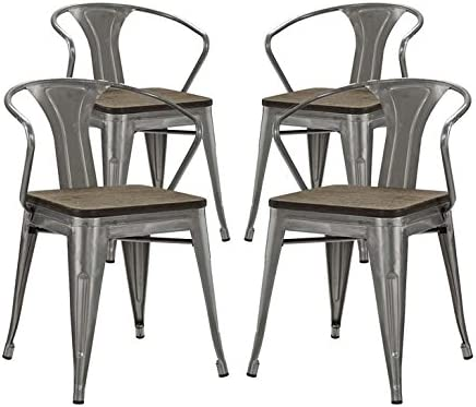 Modway MO-EEI-2756-GME-SET Promenade industrial Modern Aluminum Bamboo, Four Dining Armchairs, Gunmetal