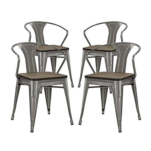 Modway Promenade Industrial Modern Aluminum Bamboo Four Kitchen and Dining Room Arm Chairs in Gunmetal
