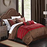 Chic Home Torino Pleated Piecing Luxury Bedding Collection 7-Piece Comforter Set, King, Burgundy