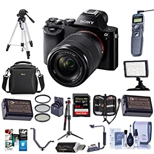 Sony Alpha a7 Mirrorless Digital Camera with FE 28-70mm f/3.5-5.6 OSS Lens - Bundle with Camera Case, 64GB Class 10 SDHC Card, 55mm Filter Kit, 2x Spare Batteries, Tripod, Video Light and More