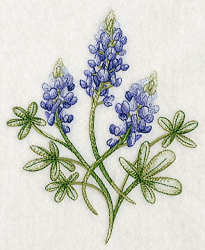 Embroidered Kitchen Towel Purple Blue Bluebonnets