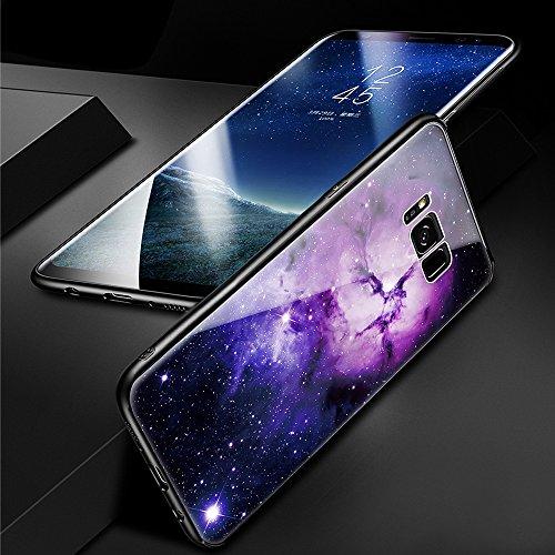 Samsung Galaxy G950F Funda, Patrón de cielo SXUUXB Samsung Galaxy S8 Ultra Híbrido [3 in 1] Flexible Silicona TPU Parachoque + Duro PC Cubierta trasera + Vidrio templado Back Carcasa Antigolpes Protec Púrpura