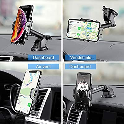 Cell Phone Holder for Car - RAXFLY Windshield Air Vent Car Phone Mount 360 Degree Rotation Suction Cup Dashboard Phone Holder Car Mount Compatible with iPhone 11 8 Plus X XR Max Samsung Note 10 Plus: MP3 Players & Accessories