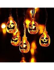 NEXVIN Halloween Decoratie Lichtsnoer, 2M 20 LED Pompoen Lichtsnoer Aangedreven door batterijen, 2 modi, Decoratieve verlichting Lichtslingers voor Halloween Buiten Binnen