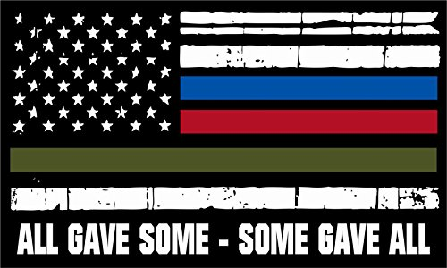 (MAGNET Thin Blue Line Decal Vinyl Magnetic StickerAll Gave Some Police Fire Military Tattered Flag Decal Vinyl Magnetic Sticker 3