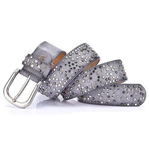 YAMEZI Women's Gray Cool Rivet jeans Belt With Star Width 40mm (Gray)
