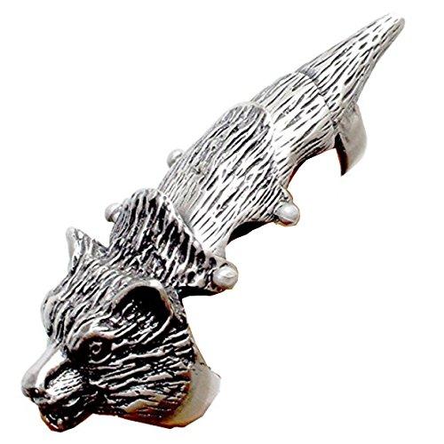 Full Finger Armor ring Silver Pewter Metal Wolf (Ring Armor Finger)
