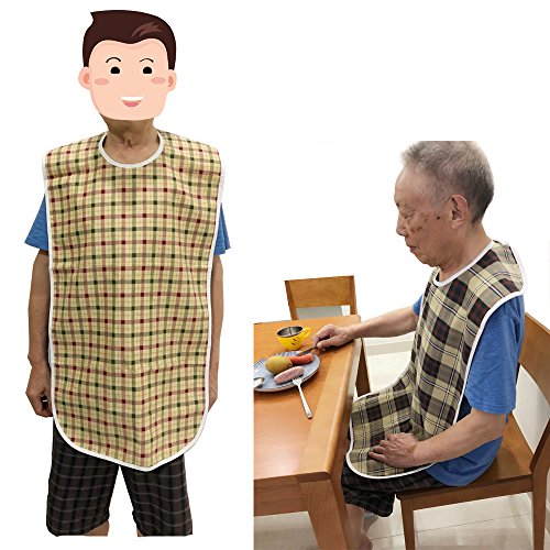 Adult Bibs Special Needs Patient Mealtime Eating Cloth Clothing Protectors Reusable Waterproof Large Long Feeding Bibs for Seniors (2 pcs - Lattice) by NEPPT (Image #10)