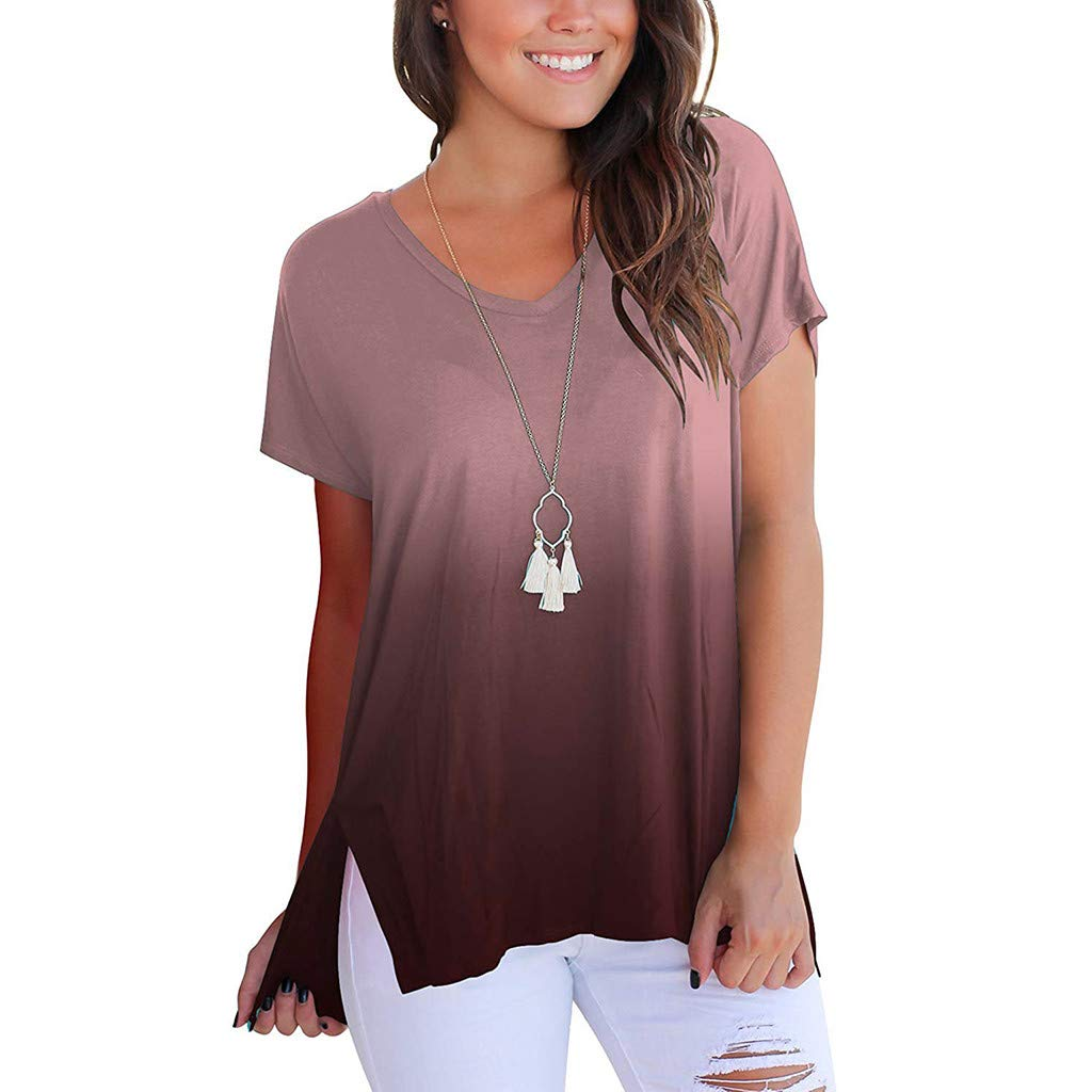 Wugeshangmao Womens Tops Fashion Teen Girl's Summer Sexy V-Neck Gradient Colour Loose Casual Tee Blouse Wine