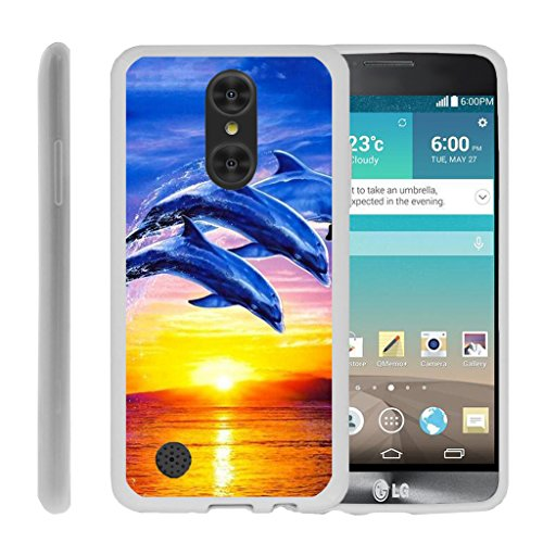 Gel Case by MINITURTLE Compatible with LG Aristo/Rebel 2/ Risio 2 / Phoenix 3 (LV3) Clear Silicone Case w/Raised Edge Lip Protection - Sunset Dolphins