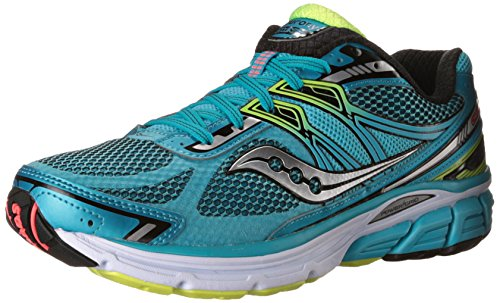 Saucony Women's Omni 14 Running Shoe,Blue/Black/Citron,US 6 W (Best Running Shoes For Flat Feet 2015)