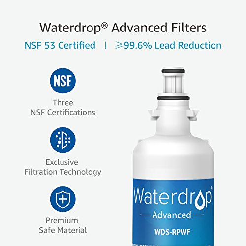 Large Product Image of Waterdrop NSF 53&42 Certified RPWF (Not RPWFE) Replacement Refrigerator Water Filter, Compatible with GE RPWF Advanced