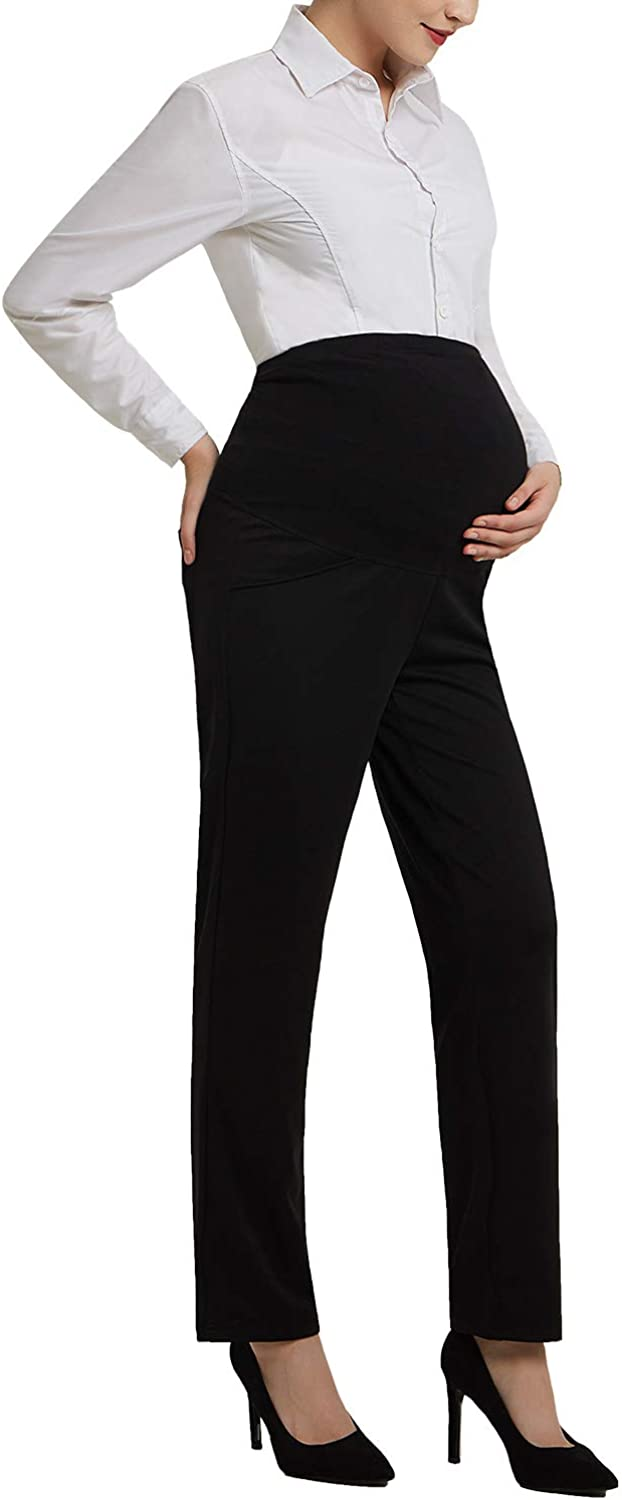 Bhome Maternity Jeans Stretch High Waisted Pants,Dress Pants for Work Career Office Pants