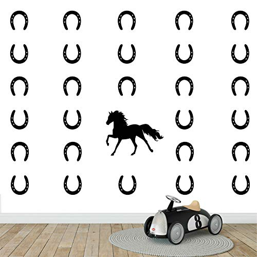 Melissalove Horse & Horseshoes Removable Wall Decor Stickers Vinyl Decal Kids Room Boys Bedroom Wall Art Decals DIY Sticker Home Decor D482 (Black) ()