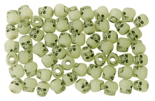 Bag of Skull Beads, Glow in the Dark Antiquing (Glow In The Dark Pony Beads)