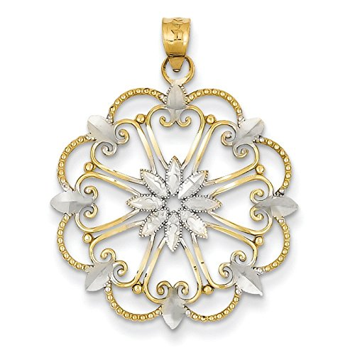 14 carats et Rhodium JewelryWeb Pendentif Motif Starburst