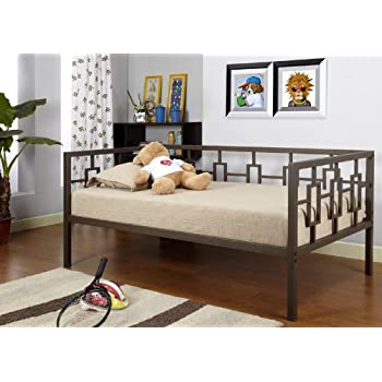 this item brown metal twin size miami day bed daybed frame with metal slats - Day Bed Frame