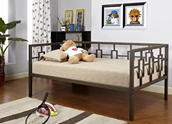 brown metal twin size miami day bed daybed frame with metal slats - Day Bed Frames
