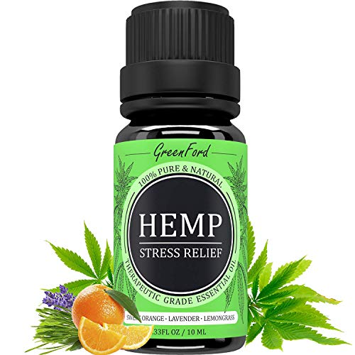 Hemp Essential Oil - 10 ml - Aromatherapy Relaxation - with Lavender Essential Oil & Orange Essential Oil & Lemongrass Essential Oil - for Stress & Anxiety Relief - Made in USA - Sans CBD - Sans THC
