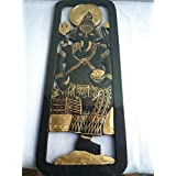 7X19 quot; HANGING WALL GANESHA WOOD CARVING BLACK GOLD CULTURE THAILAND HOME DECOR
